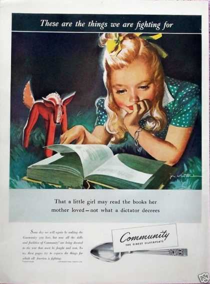 Community Silverplate Little Girl Read Book Fight (1942)