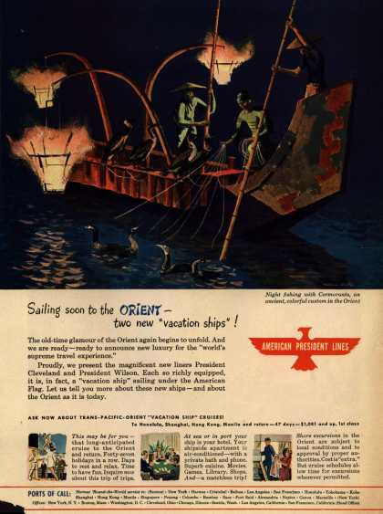"American President Line's Orient – Sailing soon to the Orient – two new ""vacation ships"" (1947)"
