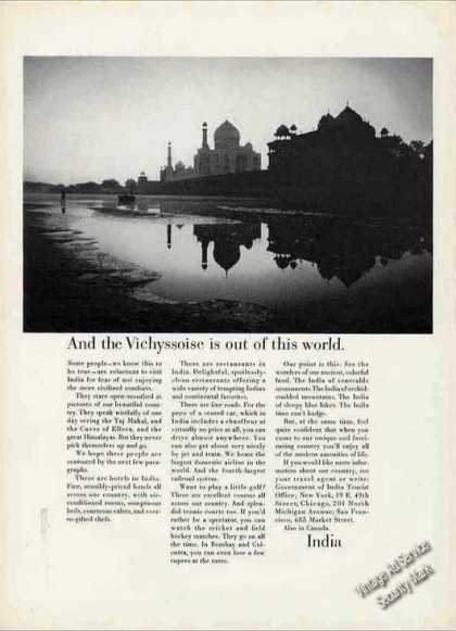 Unique Taj Mahal Photo India Airlines Travel (1966)