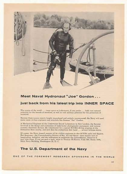 Naval Hydronaut Joe Gordon US Dept Navy (1961)