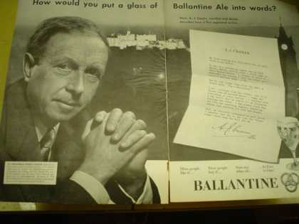 Ballantine Beer A.J. Cronin. How would you put a glass of Ballantine ale into words (1952)