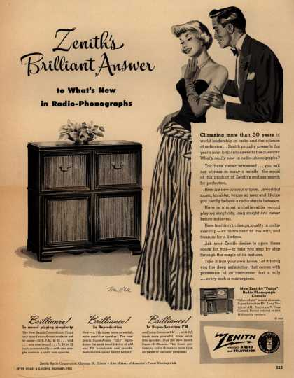 Zenith Radio Corporation's Radio-Phonograph Console – Zenith's Brilliant Answer to What's New in Radio-Phonographs (1950)