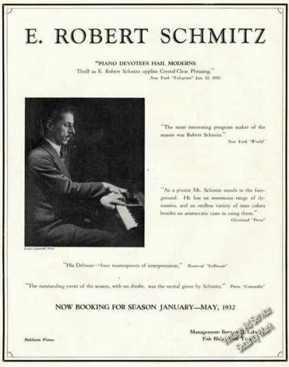 E. Robert Schmitz Photo Rare Ad Music Piano (1931)