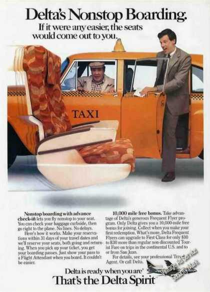 Delta's Nonstop Boarding Seat Coming To Taxi (1984)