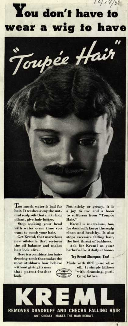 "Kreml's hair tonic – You don't have to wear a wig to have ""Toupee Hair"" (1935)"
