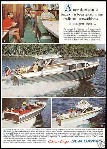 Chris Craft Sea Skiff Boat 4 Photo Vintage (1962)