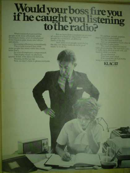 KLAC 57 Radio Station. Would your boss fire you for listening to the radio (1969)