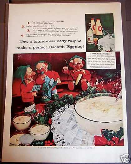 Recipe for Bacardi Eggnog Drink X-mas Elves (1954)