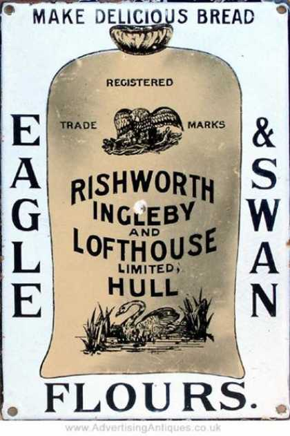 Eagle & Swan Flours Enamel Sign