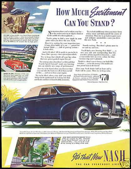 Nash Convertible Coupe Vintage Print Car (1939)