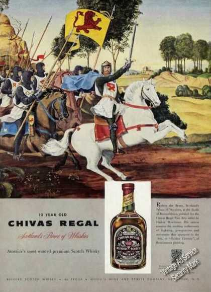 Chivas Regal Scotch Ad Harvey Woolhiser Art (1958)