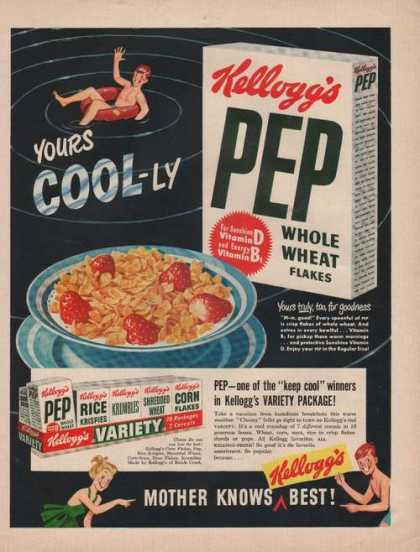 Kelloggs Pep Whole Wheat Flakes Cereal (1949)