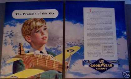 Good Year Aircraft Boy With Model Airplane (1942)