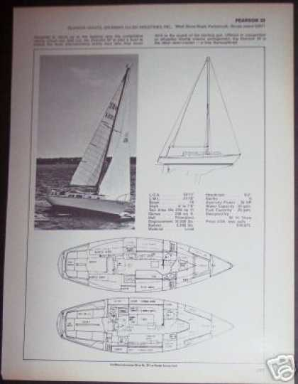 Pearson 33 Yacht Sailboat Boat Ad – Spec Page (1971)