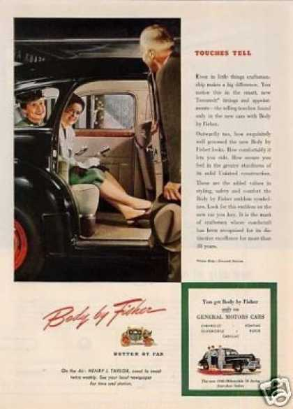 Body By Fisher Car Ad Oldsmobile (1946)
