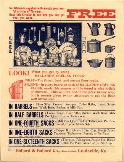 Ballard & Ballard Co.'s Ballards Obelisk Flour – No Kitchen is supplied with enough good useful articles of Tinware.
