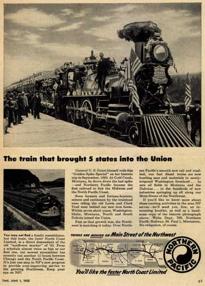 Northern Pacific Railway Company – The train that brought 5 states in the Union (1953)