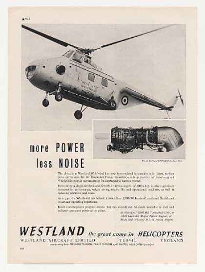 '60 Westland Whirlwind Helicopter Gnome Engine Photo (1960)