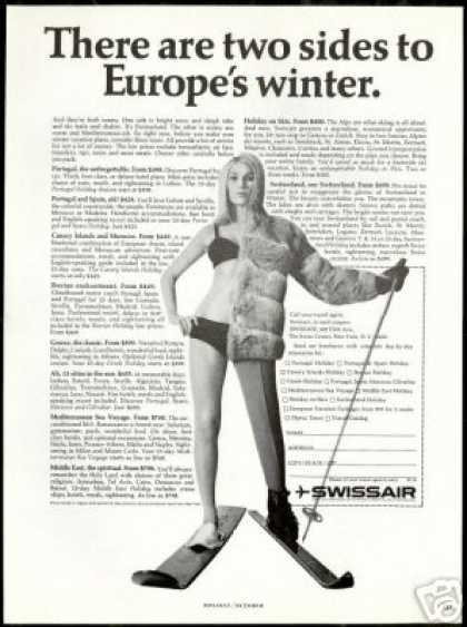 Snow Water Skier Swissair Airlines Europe (1966)