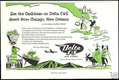 Delta C&S Airlines Caribbean Travel (1953)