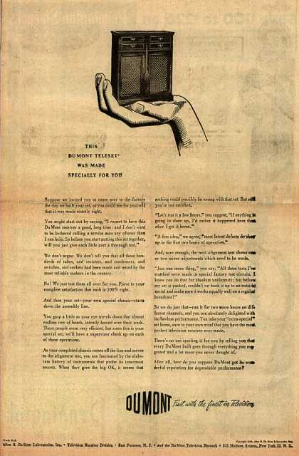 Allen B. DuMont Laboratorie's Television – This DuMont Teleset Was Made Specially For You (1949)