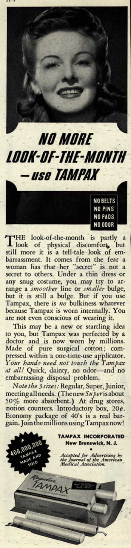 Tampax&#8217;s Tampons &#8211; No More Look-Of-The-Month-use TAMPAX (1942)