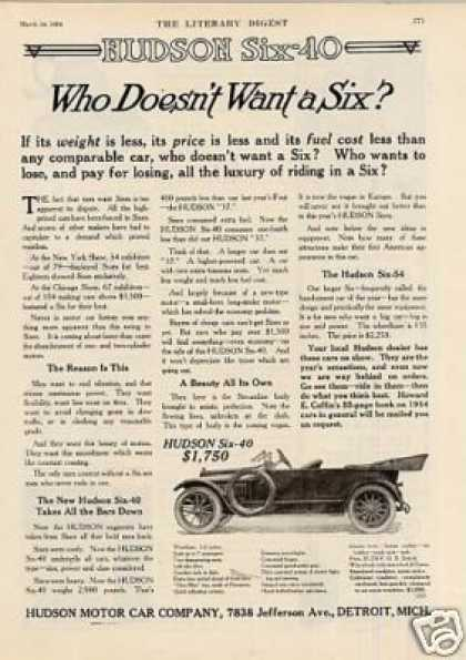 "Hudson Six-40 Car Ad ""Who Dosen't Want... (1914)"
