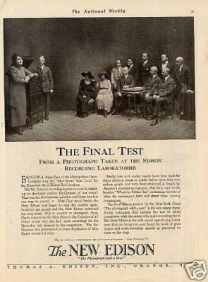 "Edison Phonograph Ad ""The Final Test... (1918)"
