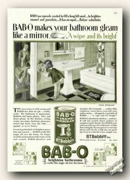 Bab-o Brightens Bathrooms Antique (1928)