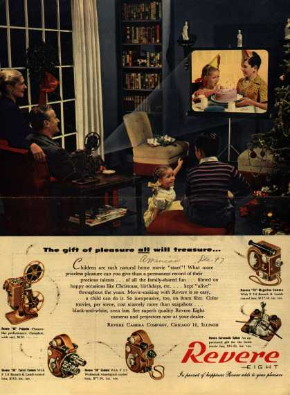 Revere's Home movie cameras and projector – The gift of pleasure all will treasure (1947)