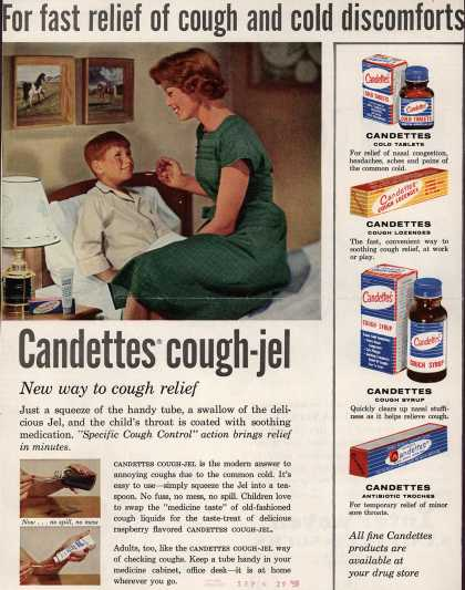 Unknown's Candettes Cough-Jel – For fast relief of cough and cold discomforts Candettes cough-jel (1958)