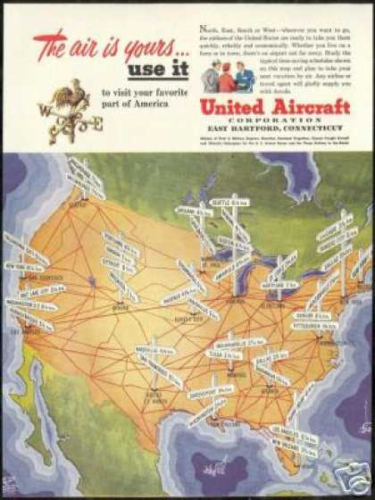 United Aircraft Airplane Travel Times Location (1950)