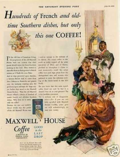 "Maxwell House Coffee Color Ad ""Hundreds of French (1930)"