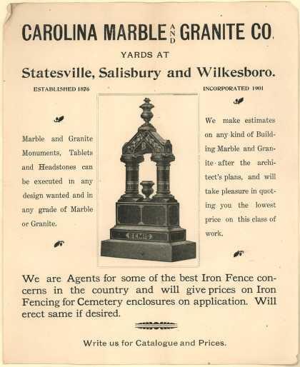 Carolina Marble & Granite Company's Headstones – Carolina Marble and Granite Co.