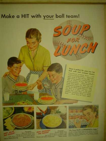Campbells Soup. Soup for lunch baseball theme (1952)