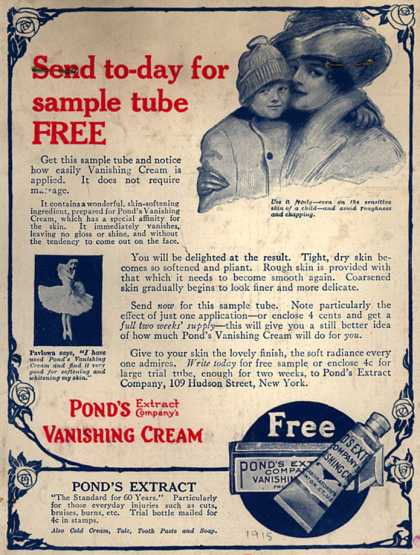 Pond's Extract Co.'s Pond's Vanishing Cream – Send to-day for sample tube FREE (1915)