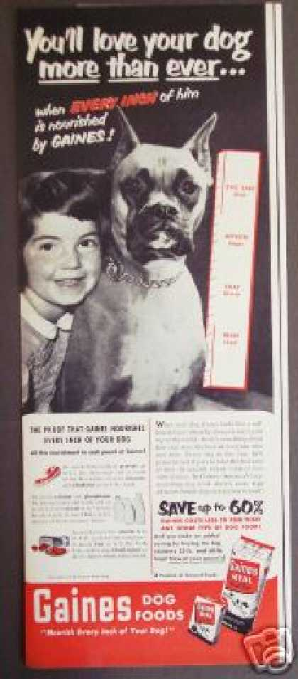Boxer Dog & Girl Photo Gaines Dog Food Original (1951)
