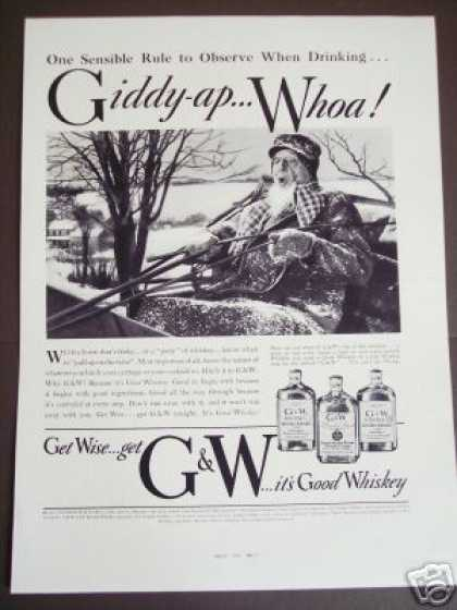 Winter Snow Sleigh G&w Whiskey (1937)
