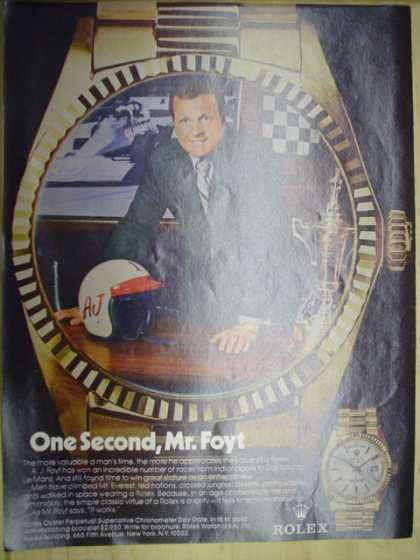 Rolex Watches. AJ Foyt. One second Mr Foyt (1974)