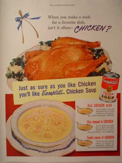 Campbells chicken soup Wish for a favorite dish (1950)