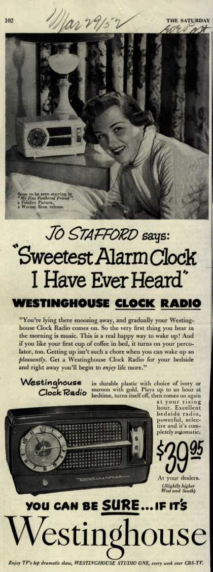 Westinghouse Electric Corporation&#8217;s Clock Radio &#8211; Jo Stafford says: &quot;Sweetest Alarm Clock I Have Ever Heard&quot; Westinghouse Clock Radio (1952)