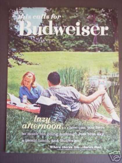 Budweiser Beer Cans Lazy Afternoon Bar Decor (1962)