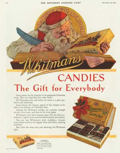 Whitman's, Sweets Father Christmas Santa Claus, USA (1920)