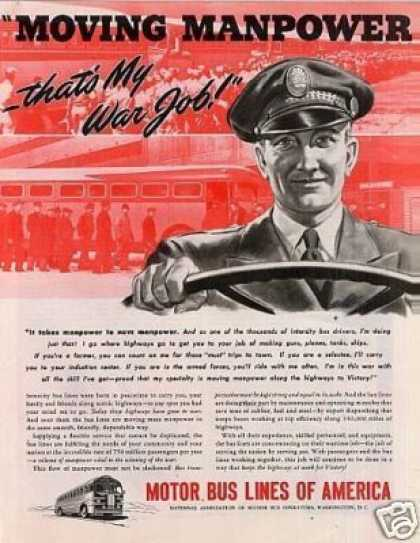 """Motor Bus Lines of America Ad """"Moving Manpower... (1943)"""