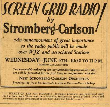 Stromberg-Carlson's Radio Program – Screen Grid Radio (1929)