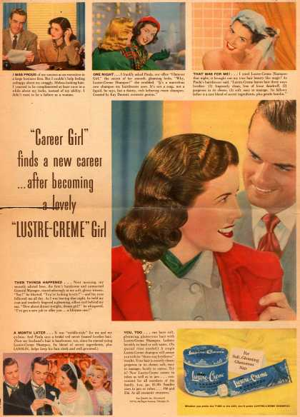 "Kay Daumit's Lustre-Creme Shampoo – ""Career Girl"" finds a new career... after becoming a lovely ""Lustre-Creme"" Girl (1948)"
