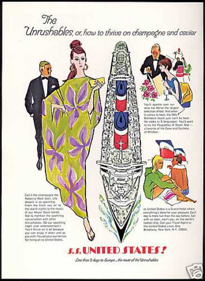 S.S. United States Cruise Ship Art Unrushables (1967)