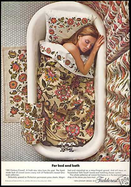 Fieldcrest Bed Bath Crewel Design Tub Photo (1967)