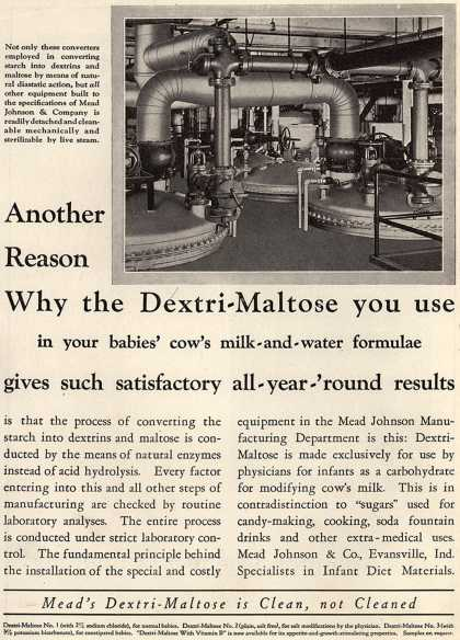 Mead Johnson and Company's Dextri-Maltose – Another Reason Why the Dextri-Maltose you use in your babies' cow's milk-and-water formulae gives such satisfactory all-year-'round results (1931)