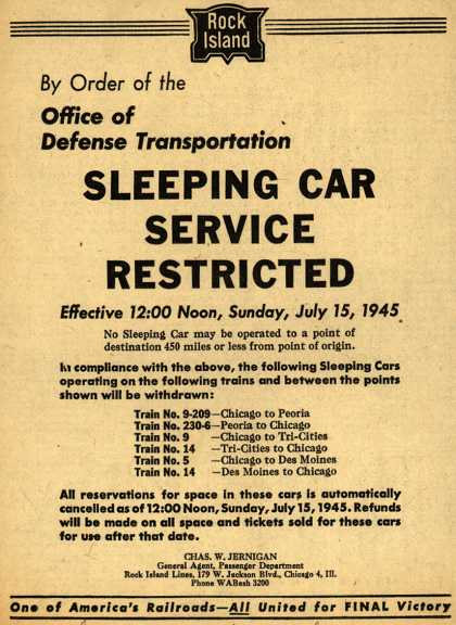 Rock Island Line's Sleeper Car Service – By Order of the Office of Defense Transportation Sleeping Car Service Restricted (1945)